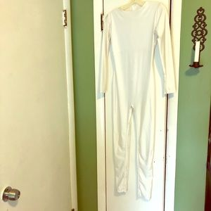 White Long Sleeve Catsuit / Jumpsuit
